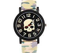 Cartoon Skull Pattern Camouflage Leather Band Wristwatch(Green)(1Pcs) Cool Watches Unique Watches