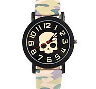 Cartoon Skull Pattern Camouflage Leather Band Wristwatch(Green)(1Pcs)