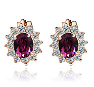 HKTC Amethyst Purple Crystal Sun Flower Clip-on Earrings 18k Rose Gold Plated Fashion Jewelry