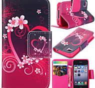 Plum Blossom Pattern with Card Bag Full Body Case for iPhone 4/4S
