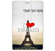 USB flash drive personalizado eu amo unidade torre Eiffel de Paris design de cartão de 8 GB USB Flash