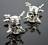 Toonykelly® Fashion Silver Plated Skull Skeleton Black Enamel Star Cufflink Button(1 Pair)