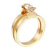 Fashion Stainless Steel Gold Plated Teddy Bear CZ Crystal Women Finger Ring Jewelry(1PC)