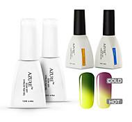 azur 4 pièces / lot gel vernis à ongles caméléon changement de température de couleur de vernis à ongles gel uv (# 09 + # 19 + base +