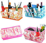 Folding Flower Pattern Quadrate Cosmetics Storage Stand Box Makeup Brush Pot Cosmetic Organizer(3 Color to Choose)