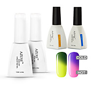 Azure 4 Pcs/Lot Color changing Soak Off UV Nail Gel Polish Long-Lasting Manicure Kit(#06+#16+BASE +TOP)