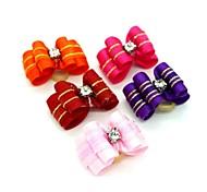 Cute Ribbon Style Gloden Stripe Pattern Rhinestone Decorated Rubber Band Hair Bow for Pet Dogs  (Random Color)