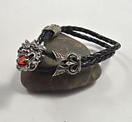 Classic Men's China Dragon Buckle Leather Bracelets 1pc