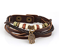 Vilam® Vintage Hamsa Wood Bead Brown Handmade Woven Leather Bracelet Jewelry