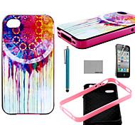 Coco Fun® colorido patrón de flor TPU caso trasero suave con protector de pantalla y el stylus para el iphone 4 / 4s