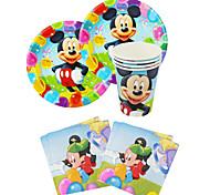 56pcs mickey mouse aniversário do bebê decoração decorações do partido dos miúdos evnent fontes do partido do partido 18 pessoas usam