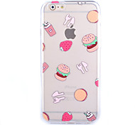 Hamburger Pattern Transparent Frosted Shell TPU Frame Combo Mobile Phone Shell for iPhone 6