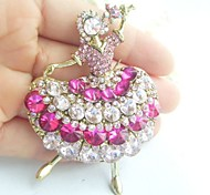 Women Accessories Gold-tone Pink Rhinestone Crystal Brooch Art Deco Crystal Dancing Girl Brooch Women Jewelry