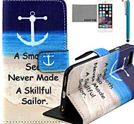 COCO FUN® Sea Sailor Pattern PU Leather Case with Screen Protector and Stylus for iPhone 6