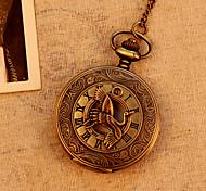 Women Men Big Size Chain Hollow Peacock Case Bronze Vintage Antique Fashion Unisex Pocket Watches Quartz Analog Clock