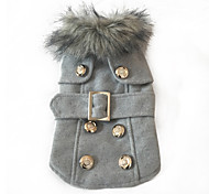 Elegant European Style Pet Coat with Fur Collar and Waistband for  Pet (Assorted Sizes)