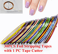 30PCS Nail Art Foil Striping Tape Line with 1PC Foil Cutter Box(Random Color)