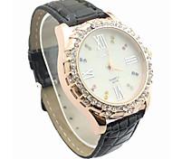 Fashion CZ Diamond Leather Watchband Wristwatch(Black)(1Pc)