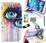 coco Fun® pink lila Eulenmuster PU-Lederetui mit Film-und USB-Kabel und Stift für Samsung-Galaxie i9500 s4