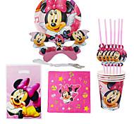 40pcs Minnie Mouse aniversário do bebê decoração decorações do partido dos miúdos evnent fontes do partido do partido 6 pessoas usam