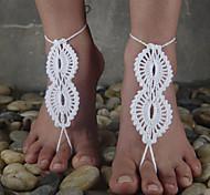 European Style Crochet Flowers Barefoot Infinity 8 sShape Anklet
