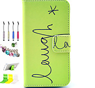 Smile Pattern PU All Inclusive With Slot Case and Stylus Pen Dust Plug Bracket Assembly for iPhone 4/4S