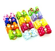 Lovely Ribbon Style  Bead Decorated Rubber Band Hair Bow for Pet Dogs  (Random Color)