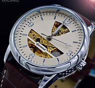 Relogio Masculino Brown Leather Silver Skeleton Automatic Self-Wind Mechanical Watch Luxury Brand Men Sports Wristwatch