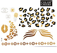 1Pc Gold,Silver,Black Metallic Tattoo Sticker 23x15.5CM