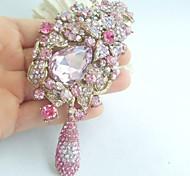 Women Accessories Art Deco Gold-tone Pink Rhinestone Crystal Flower Brooch Bouquet Women Jewelry