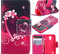 Plum Blossom Pattern with Card Bag Full Body Case for Samsung Galaxy S4 Mini I9190