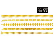 1Pc Gold Long Bracelet Tattoo Sticker 14x6CM