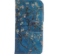 дизайн абрикос цветок искусственная кожа флип чехол для iPhone 4 / 4s