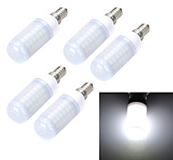 5pcs E14/E27 10W 1000LM Frosted 69-5730 SMD Warm/Cool White Light LED Corn Bulb (AC 220~240V)