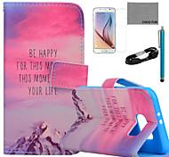 caso colina do sol padrão de couro pu Coco fun® com filme e cabo USB e caneta para Samsung Galaxy S6