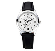 Men's  Water-Resistant  with Man-made Crystal White Dial Leather Band Quartz Analog  Fashion Watch of Libra