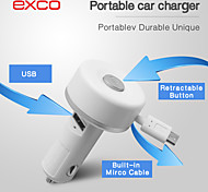 micro usb cargador especial portátil mini cable retráctil coche para iphone / ipad / ipod (2.1a 5v)