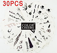 30Pcs Black Waterproof Temporary Tattoo Stick 6x10.5CM