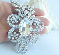 Bridal Accessories Wedding Deco Silver-tone Clear Rhinestone Crystal Bridal Brooch Bridal Bouquet Flower Wedding Brooch