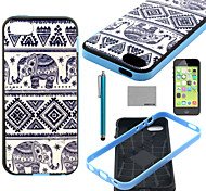 COCO FUN® Elephant Trible Pattern Soft TPU Back Case Cover with Screen Protector and Stylus for iPhone 5C