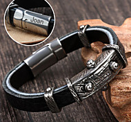 Personalized Gift  Stainless Steel/Leather Bracelets Engraved Jewelry