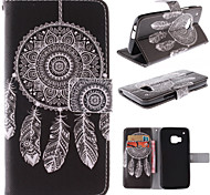 White Dreamcatcher Pattern PU Leather Full Body Case with Stand and Card Slot for HTC One M9