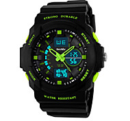 Beswlz Men's Military Design Multifunctional Dual Time Zones Quartz Analog-Digital Rubber Band Sports Wrist Watch