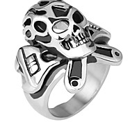 Toonykelly® Fashionable Stainless Steel Skull Skeleton Screw-driver Unadjustable Ring(1PC)