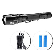 LED Flashlights / Handheld Flashlights LED 5 Mode 1600 Lumens Adjustable Focus Cree XM-L T6 18650 Others , Black Aluminum alloy