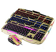 UX Piano Coating Wired 114-Key Backlit Gaming Keyboard + Mouse Set - Gold/Black