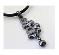 Bright Black Flash Diamond Ring Shaped Pendant Short Paragraph Necklaces 1pc