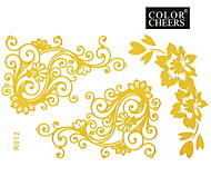 1Pc Gold Flower Tattoo Sticker 15x9CM