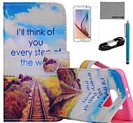 coco Fun® Zukunft Straßenmuster PU-Lederetui mit Film-und USB-Kabel und Stift für Samsung-Galaxie s6