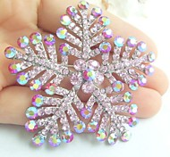 Women Accessories Silver-tone Pink Rhinestone Crystal Brooch Bouquet Wedding Deco Snowflake Bridal Brooch